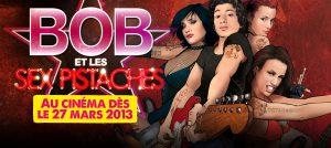 Affiche du film Bob et Les Sex Pistaches, avec de gauche à droite: Manon Charmelot, Jules Sitruk, Lorianne Cherpillod et Marie-Eve Musy, leur instrument à la main.
